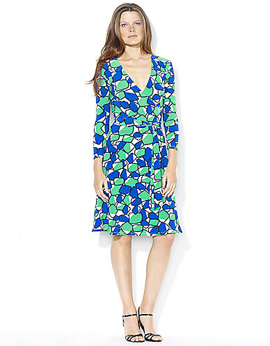 Lauren-Ralph-Lauren-Three-Quarter-Sleeved-Patterned-Matte-Jersey-Wrap-Dress